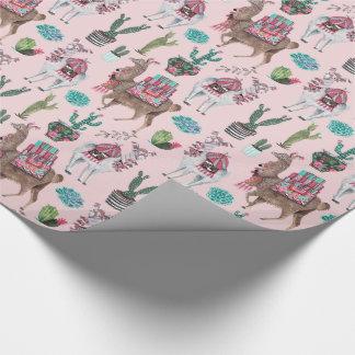 ラマ|のピンク|の包装紙 ラッピングペーパー