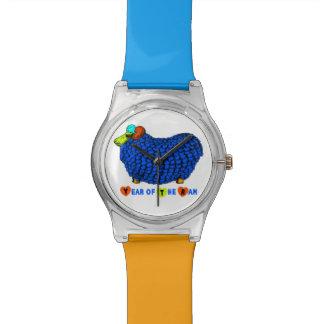 ラムのヒツジまたはヤギ青いMay28thの腕時計の年 腕時計