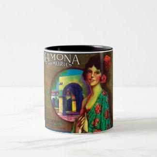 ラモナの記憶ヴィンテージの美しいメキシコバラ ツートーンマグカップ