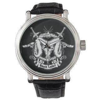 ラリーの西の黒いラベル 腕時計