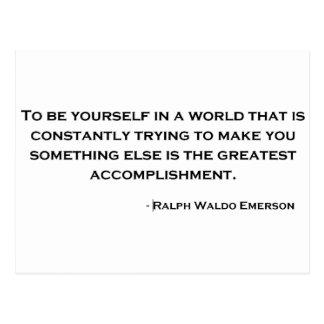 ラルフ・ワルド・エマーソンの賢い引用文 ポストカード