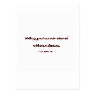 ラルフ・ワルド・エマーソン著生命引用文-素晴らしい何も ポストカード
