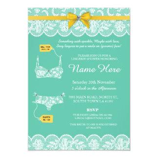 ランジェリーのシャワーのブライダルパーティのレースの金ゴールドの弓招待 カード
