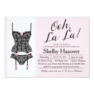 ランジェリーのシャワーの招待、OohのLaの黒い及びピンクのレース カード