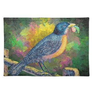 ランチョンマットのかわいらしい歌の鳥のいちご ランチョンマット