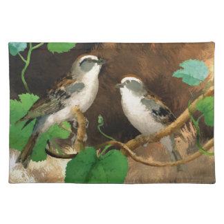 ランチョンマットの木のかわいらしい歌の鳥 ランチョンマット