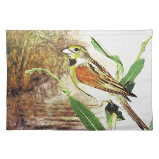ランチョンマットの湖のかわいらしい歌の鳥 ランチョンマット
