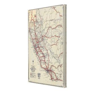 ランドのMcNallyの後輩の道路図カリフォルニアおよびネバダ キャンバスプリント