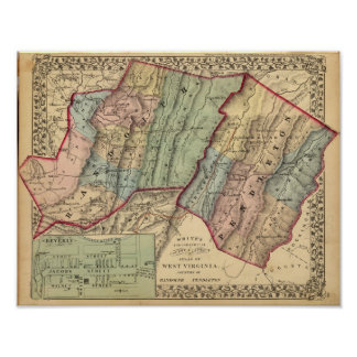 ランドルフのペンドルトン郡の地図 ポスター