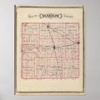 ランドルフ郡の地図 ポスター