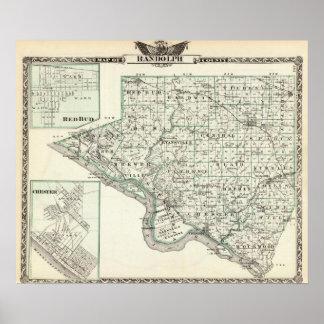 ランドルフ郡、赤い芽およびチェスターの地図 ポスター