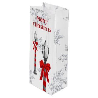 ランプのポストの雪片のクリスマスのワインGB ワインギフトバッグ