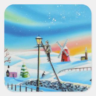 ランプのライターの冬の雪場面ゴードンブルース スクエアシール