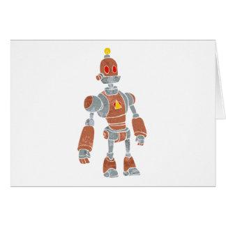 ランプの頭部が付いている茶色のロボット カード
