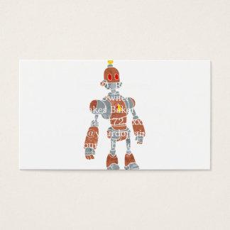 ランプの頭部が付いている茶色のロボット 名刺