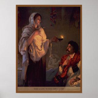 ランプを持つフローレンス・ナイチンゲールの女性 ポスター
