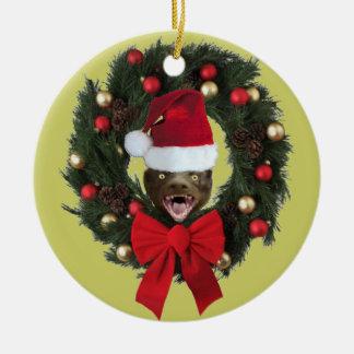 ラーテルのサンタの帽子のクリスマスツリーのオーナメント セラミックオーナメント