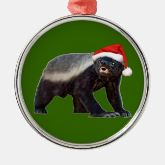 ラーテルのサンタの帽子のクリスマスツリーのオーナメント メタルオーナメント
