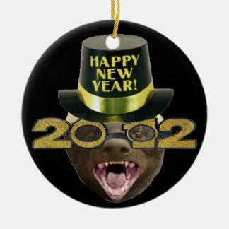 ラーテルの明けましておめでとう2012年のX-masのオーナメント セラミックオーナメント