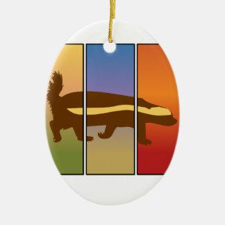 ラーテル(ミツアナグマ)の芸術3のパネルによってすごいスペシャル セラミックオーナメント