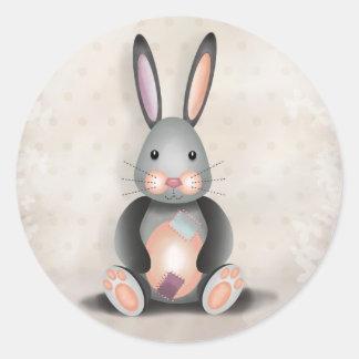 ラーフパッチワークのウサギ-ステッカー ラウンドシール