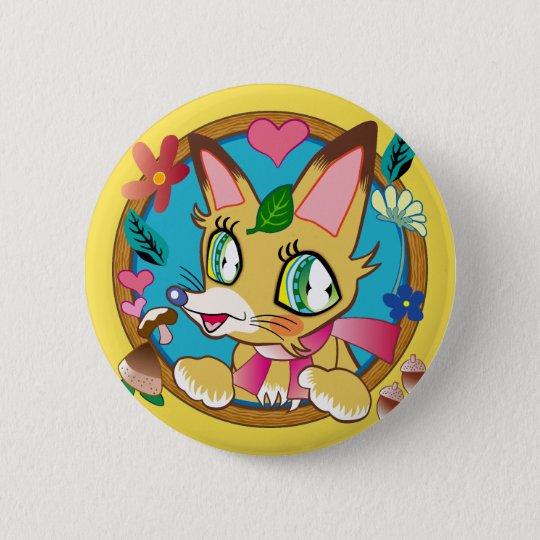 ラブリーなキツネさん♪-Lovely FOX 5.7cm 丸型バッジ