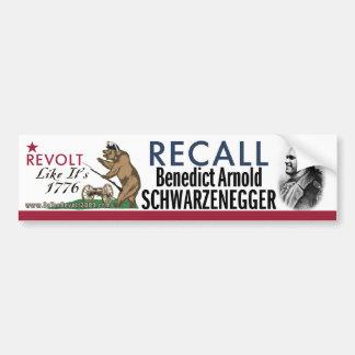リコールのベネディクトアーノルド1776の反乱のバンパーステッカー バンパーステッカー