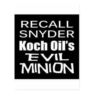 リコールの知事のリックSnyderの邪悪で企業のな子分 ポストカード