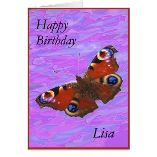 リサのハッピーバースデーの孔雀蝶カード グリーティングカード