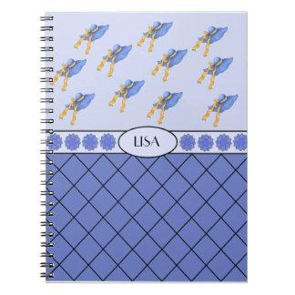 リサの名前入りで青いファッションの帽子のノート ノートブック