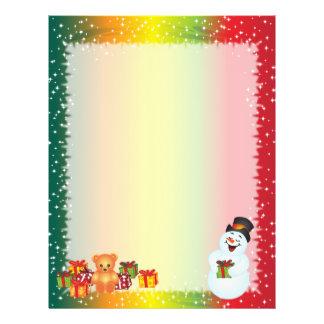 リサイクルされたクリスマスの紙-雪だるまのデザイン レターヘッド