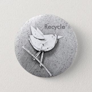 リサイクルされた鳥 5.7CM 丸型バッジ