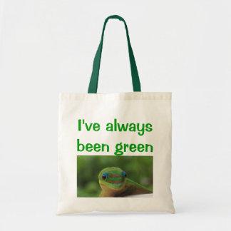 リサイクルの再利用の緑のヤモリ トートバッグ