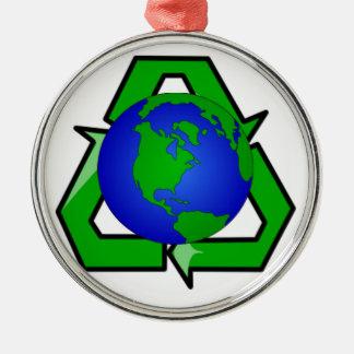 リサイクルの地球 メタルオーナメント
