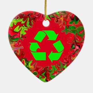 リサイクルの平和クリスマス セラミックオーナメント