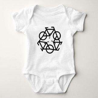 リサイクルの自転車のロゴの記号 ベビーボディスーツ
