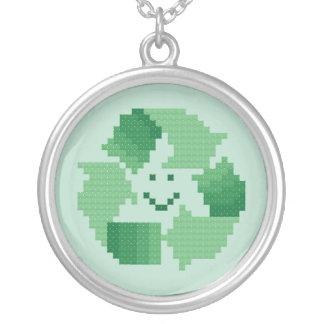 リサイクルの記号のネックレス シルバープレートネックレス