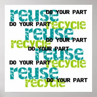 リサイクルはあなたの部分のTシャツおよびギフトをします ポスター