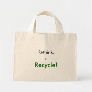 リサイクル! 、再考するため、 ミニトートバッグ