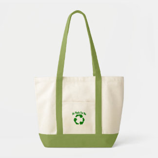 リサイクル: 私のためのプラスチック無し トートバッグ