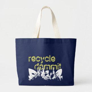 リサイクル、dammit ラージトートバッグ
