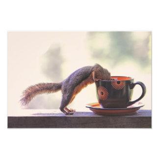 リスおよびコーヒーカップ フォトプリント