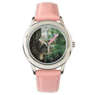 リスのステンレス鋼のピンクの腕時計 腕時計