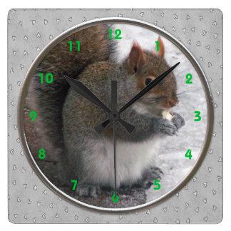 リスの柱時計 スクエア壁時計