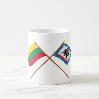 リスアニアおよびPanevezysの郡によって交差させる旗 コーヒーマグカップ