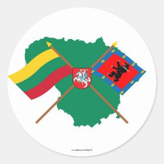 リスアニアおよびTelsiai郡旗、腕、地図 ラウンドシール