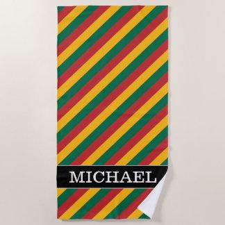 リスアニアの旗は着色されたストライプなパターンをインスパイア ビーチタオル