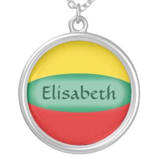 リスアニアの旗 + 一流のネックレス シルバープレートネックレス