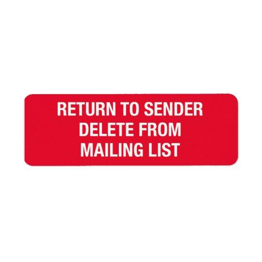 リストのステッカーからの削除 返信用宛名ラベル