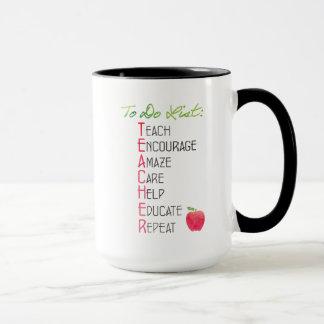 リストの水彩画Appleをする名前入りな先生 マグカップ